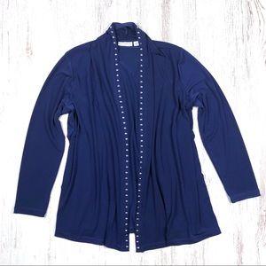 Susan Grace Open Hanging Blouse Top Navy Blue